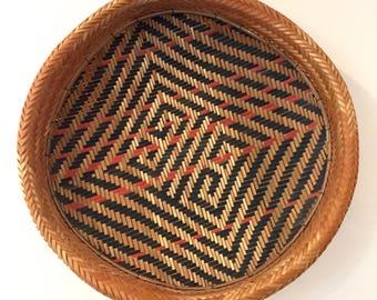 Dramatic Vintage Graphic Basket | Geometric Brown Tan Black Red | Handwoven