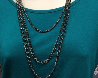 Multiple chain necklace, Metal Chain Necklace, Multi-Strand Chain Necklace, Layered Necklace