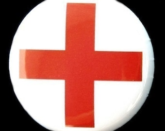 Red Cross - Button Pinback Badge 1 inch