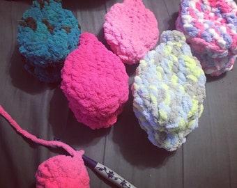 Reusable washable water balloons. Bernat Blanket Yarn.  Summer Gift.