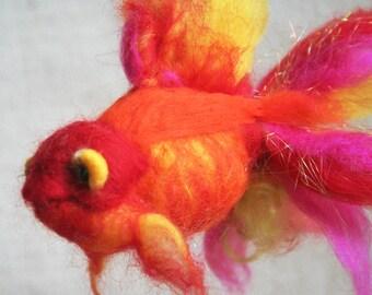 Blazing golden fish, needle felted