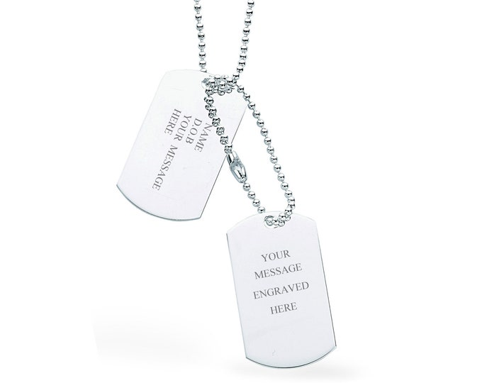"""Double Dog Tags 925 Sterling Silver 24"""" Necklace - Personalised Name & Message"""