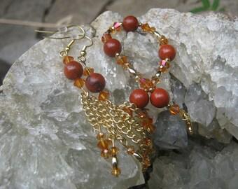 Red Jasper and Swarovski Crystal Bracelet and Earring set