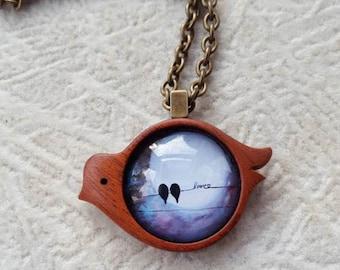 Love Birds In The Moonlight Art Wooden Pendant - Abstract Art - Antique Brass -  Nature Inspired