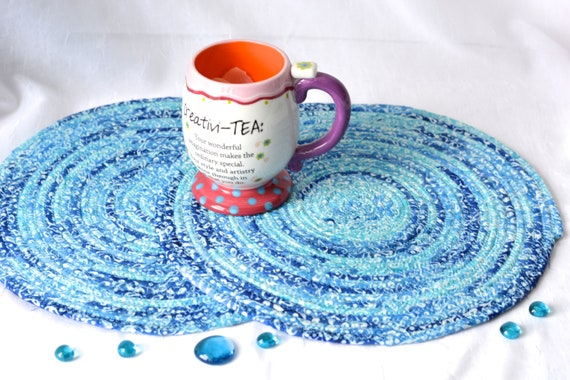 "Artisan Place Mats, 12"" Handmade Blue Batik Hot Pads, 2 Table Toppers, Blue Batik Coiled Potholders, Unique Trivets, Placemat"