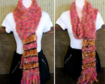 Chunky Orange Winter Scarf, Knitted Orange Mix Scarf, Soft Chunky Wool Cowl, Winter Neck Shawl