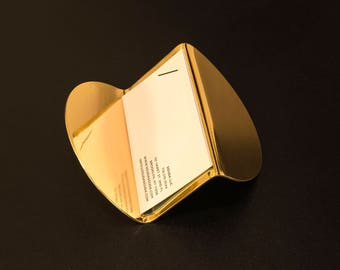Modern Brass Business Card Holder - SAMPLE - Gold, Desk Accessory, Gift, Home Office, Contemporary