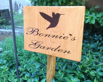 Garden sign - custom sign, hand-stained, made to order, personalized, gift for mom, gift for gardeners, garden accessory, Mother's Day gift