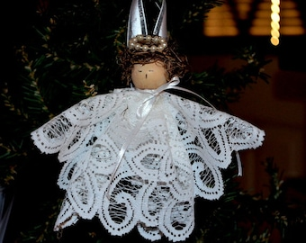 Handmade Vintage White Lace Christmas Angel Ornament