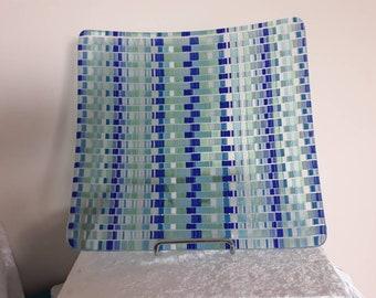 Coastal blue fused glass tapestry platter