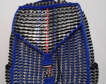 Backpack handmade  with recycled aluminum soda tabs