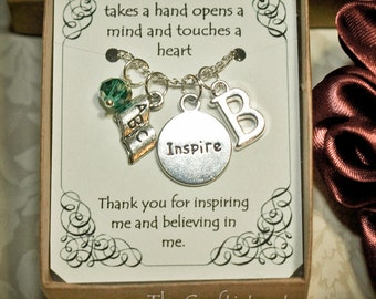 Personalized Teacher Necklace With Birthstone and Initial T-03 -- Personalized Teacher's Gift -- Teacher Appreciation Gift