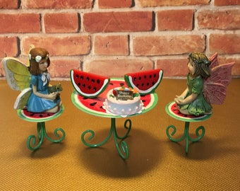 Table and Chairs, Miniature Table, Watermelon Table, Fairy Dining, Dollhouse Furniture, Fairy Furniture