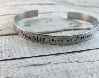 Friendship cuff bracelet, hand stamped, personalized, frienship knows no distance