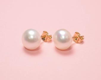 14K Gold filled freshwater pearl earrings,gift for her,Christmas gift,pearl stud earrings,bridesmaid gift,bridesmaids earrings