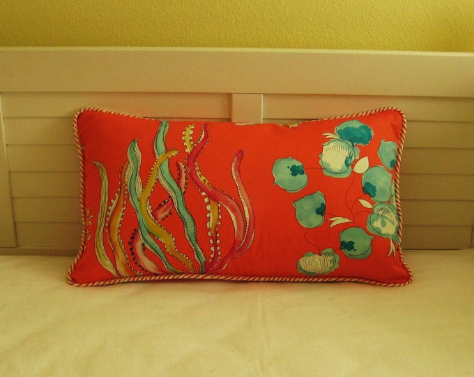 "Ocean Coral 14""x24""  Lumbar Pillow Cover with Wavy Coral Piping"