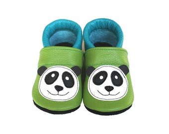 Leather Baby Booties, Baby Shoes, Panda Shoes, Infant Newborn Nursery Children, Turquoise, Green