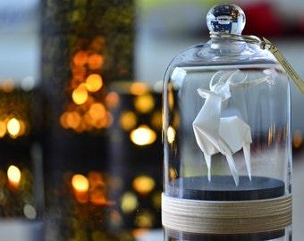 Sculpture Origami Cerf Blanc. Taxidermie. Décoration Cabinet de Curiosités. Cadeau pour lui. Cadeau pour elle. Cadeau personnalisable