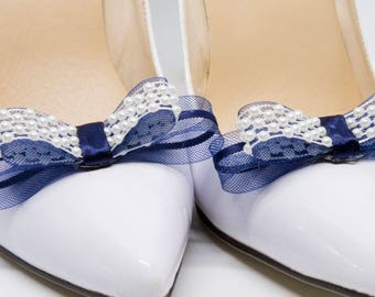 Navy blue and pearl shoe clips
