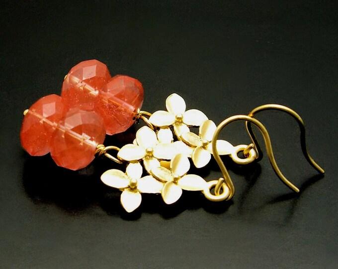 PINK DELIGHT ~ Pink Quartz, 14kt Gold Vermeil Flower Earrings
