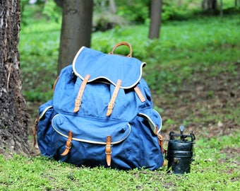 Hiking Backpack - Backpack Rucksack - Camping Backpack - Large Rucksack - Canvas and Leather Backpack - Outdoor Backpack - Canvas Rucksack