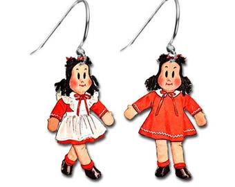 Little Lulu Dolls Comic Book Retro Vintage TV Doll Character Adorable Hook Earrings Set