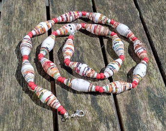 Handmade necklace with multicolor - red - white - brown - green recycled paper and red glass beads