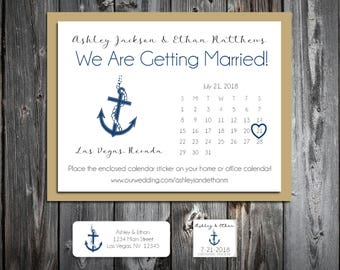 Nautical Beach Anchor Wedding Save the Date Cards Invitations