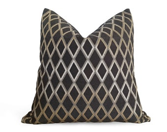 Decorative Pillows, Diamond Pillow, Black Pillows, Black Gold Pillow, Throw Pillow Covers, Pewter, Geometric, Custom, Mens Pillow Cases, NEW