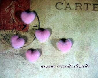 retro vintage scrapbooking decoration pink fur heart appliques