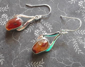 Mexican Carnelian Agate Earings - Sterling Silver Earrings - Courage Confidence Vitality Sexuality - Witch Pagan Wicca Silver Earrings