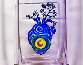 Starry Starry Night Heart Vase