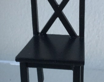 "Dollhouse Miniature 1"" Scale Black Chair (AT)"