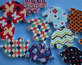 Elephant Wood Buttons - Scrap booking - Sewing - Card making - Craft supplies