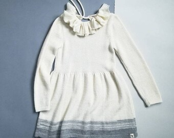 Ruffle collar dress / knitted baby alpaca dress / rose knit dress / winter dress / knitted girl dress / ruffle collar wool dress