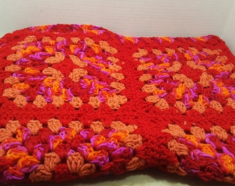 Small Afghan, Crocheted lap blanket, 1980s vintage afghan throw