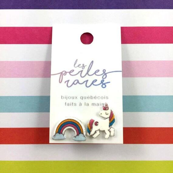 unicorn, rainbow, stud earring, fairy tail, print on plastic, shrink plastic earring, stainless stud, handmade, les perles rares