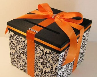 Wedding Card Box Damask and Orange Gift Card Box Money Box Holder--Customize your color/made to order (10x10x9)