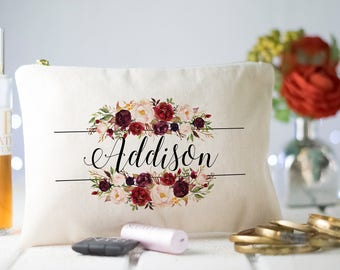 Floral Bridesmaid Makeup bag, Monogram Cosmetic Bag, Monogram Makeup Bag, Marsala Makeup Bag, Floral Initial Bridesmaid Makeup Bag, Makeup
