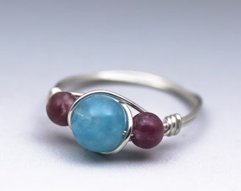 Hemimorphite & Lepidolite Gemstone Sterling Silver Wire Wrapped Bead Ring - Made to Order, Ships Fast!