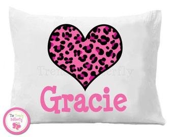 Hot Pink Cheetah Heart Pillow Case , Personalized Pillow Case