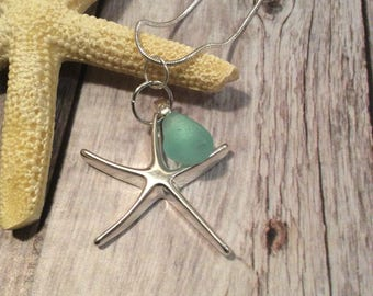 Sterling Silver Starfish Necklace With Sea Glass Charm