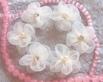 8 Handmade Organza Flowers With Pearl (1-3/4 inches) in Cream  MY-336 Ready To Ship