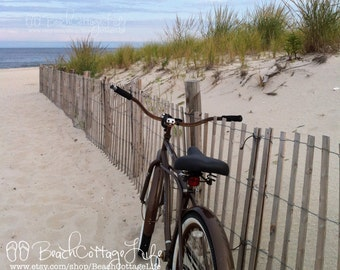 Brown Beach Bicycle (Seaside Beach Cruiser  'Simply GRATEFUL' Parked Along the Dune Fence) Cottage Chic Wall Art Photography OCEAN
