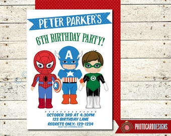 Superhero Birthday Invitation | Captain America | Green Lantern | Spiderman | Digital | invite | Party | Costume | Superhero | Birthday