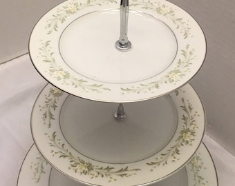 Three tiered china cake plate/ stand. Green and cream flowers white plates. Bottom & China cake plate | Etsy