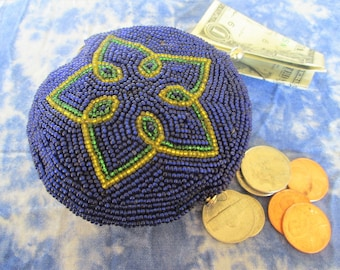 Star Beaded Coin Purse Dark Blue Ladies Accessory Made in Korea Vintage