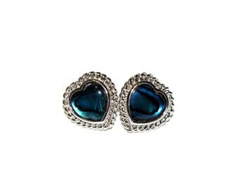 Vintage Silver Blue Aquamarine Heart Earrings, Blue Green Stone Heart Stud Post Earrings