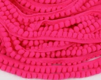Small neon pink pom pom trim, Pom Pom fringe, Pom Pom edging , 10mm Pom pom edging