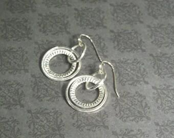 Dual Loop Silver Plated  Earrings